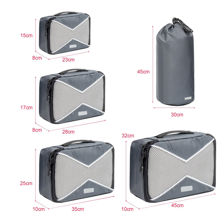5pcs Durable Travel Ultralight Compression Packing Cubes Bags