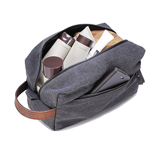 Durable Canvas Travel Hanging Toiletry Bag With Leather Handle