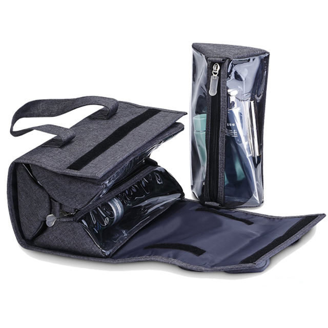 Foldable Mens Cosmetic Bag Hanging Toiletry Grey With Top Quality Polyester