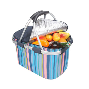 Portable Insulated Folding Cooler Baskets For Travel Picnic With Handles And Large Capacity