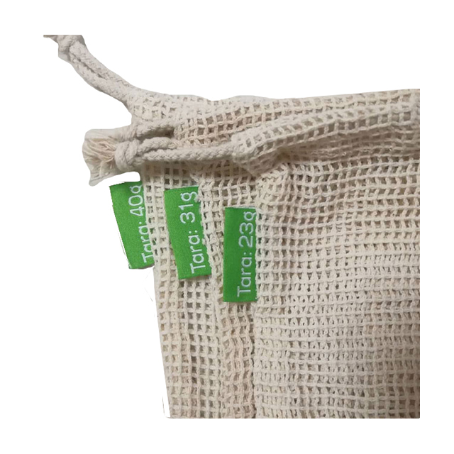 Reusable 100% Cotton Mesh Tote Bags For Shopping Grocery With Badge And String