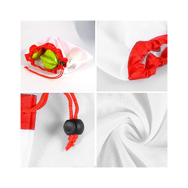 RPET Mesh Produce Storage Bags Set With Drawstring For Shopping,Travel Or Any Household Item