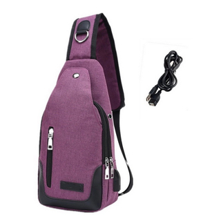 Mens Travel Sling Backpack Chest Shoulder Bag With usb Charging Port